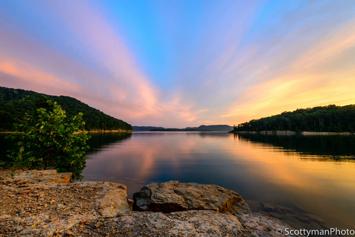 An amazingly colorful sky at Cave Run Lake in the Daniel Boone National Forest in Kentucky. Captured at Windy Bay Fishing Point.