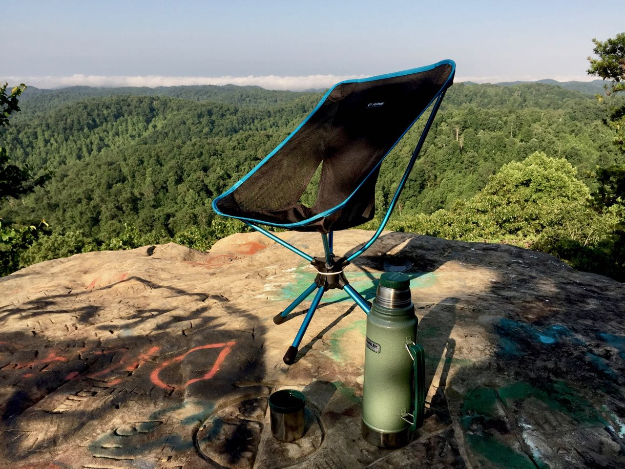 An image of the Helinox Swivel Trek Chair on the summit of Lockegee Rock near Morehead Kentucky.