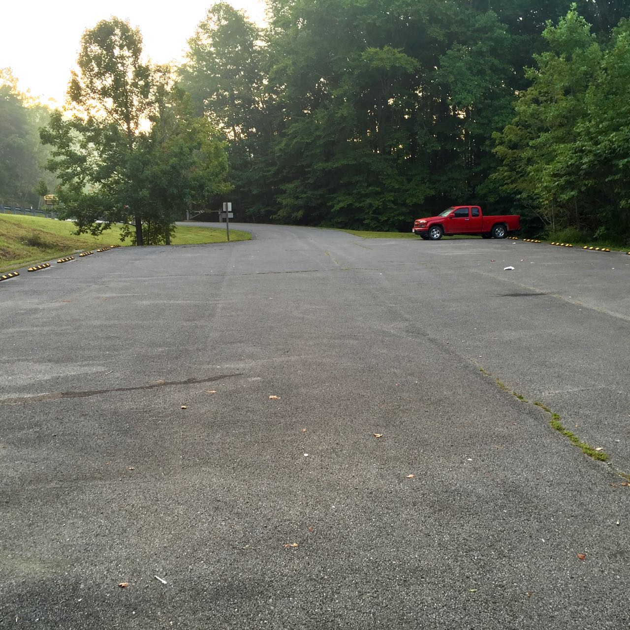 An image of the parking area leading to Windy Bay Fishing Point at Cave Run Lake in Morehead, Kentucky.