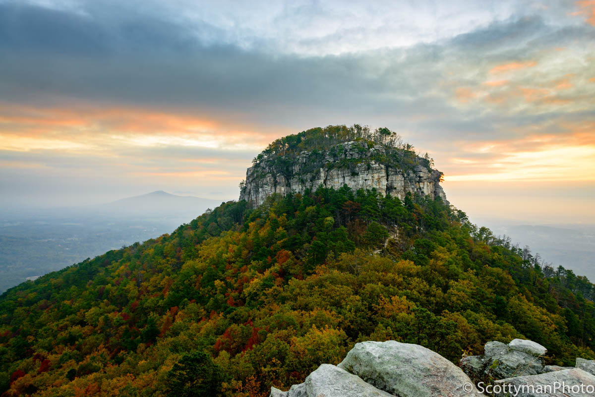 An amazing image captured on an autumn morning at Pilot Mountain State Park in North Carolina.