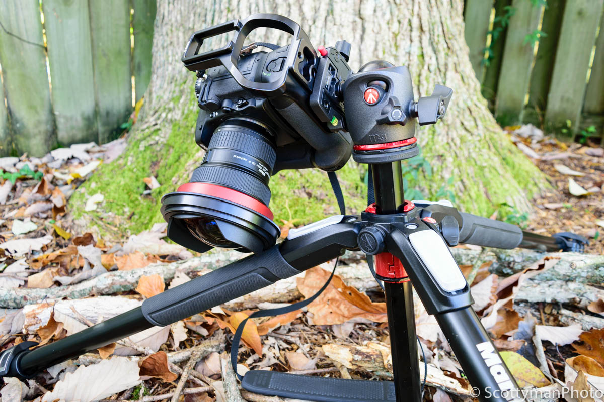 An image of the Manfrotto XPRO Ball Head showing a Nikon D800 and 14-24mm lens hitting a tripod