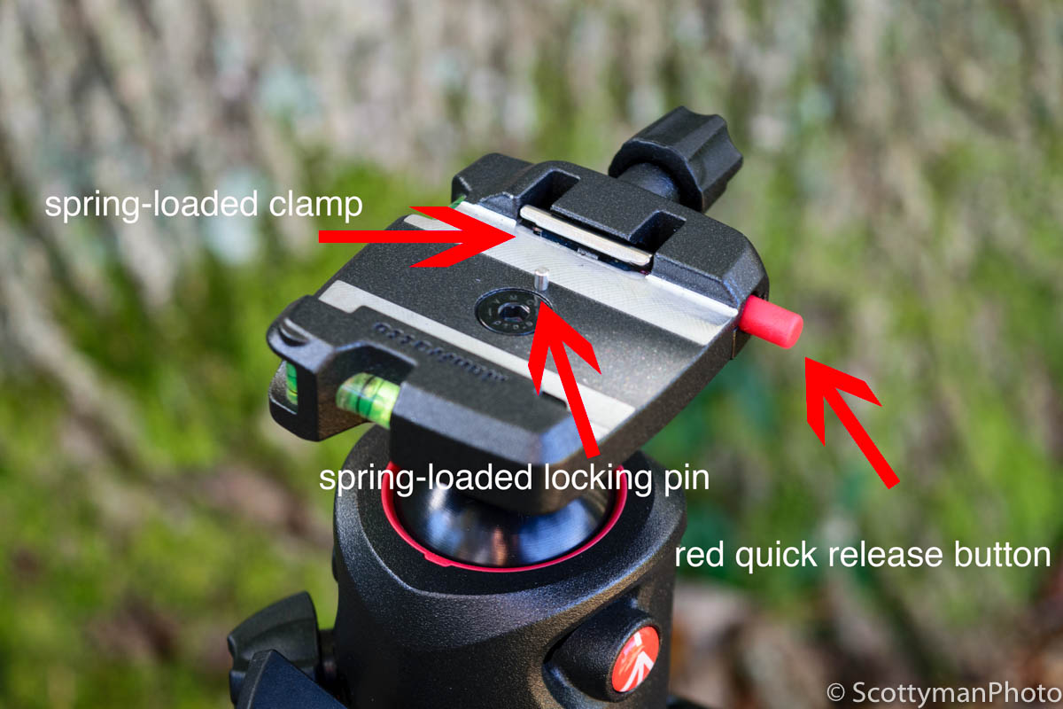 An image of the Manfrotto XPRO Ball Head demonstrating the three way safety feature