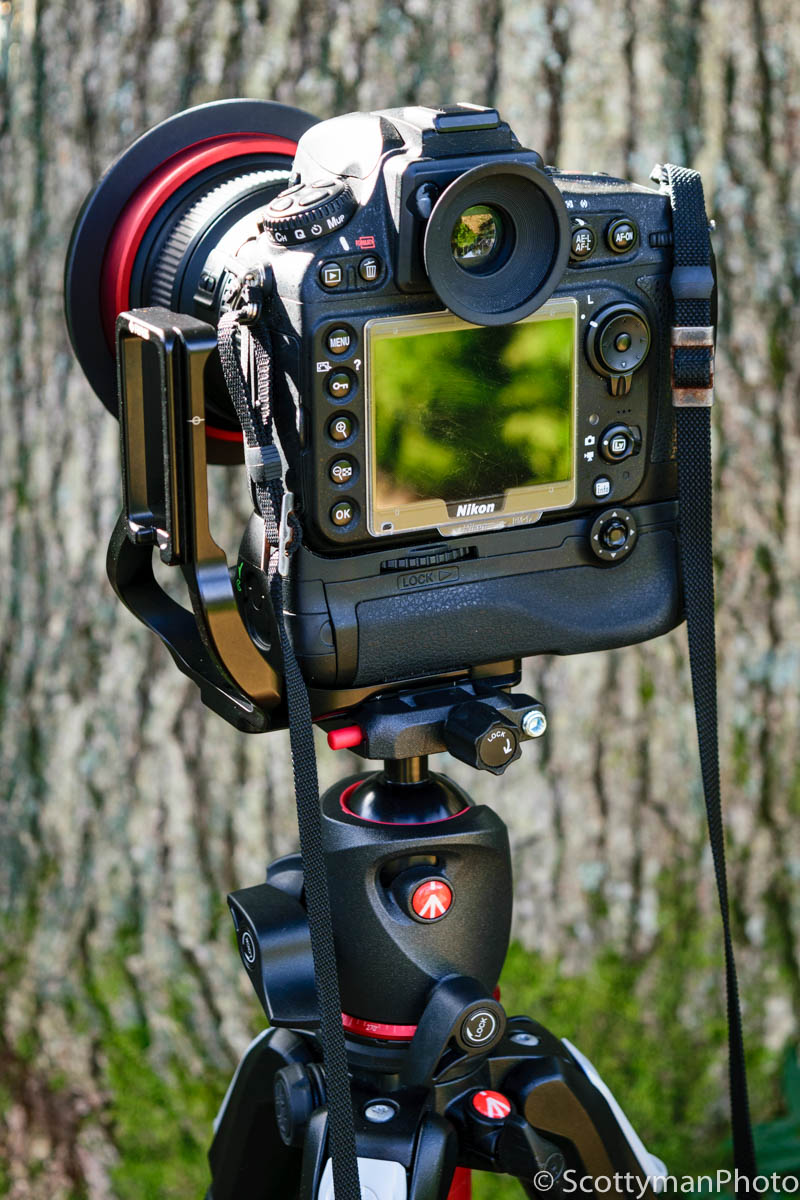 An image of the Manfrotto XPRO Ball Head attached to a Nikon D800 and RRS L Bracket