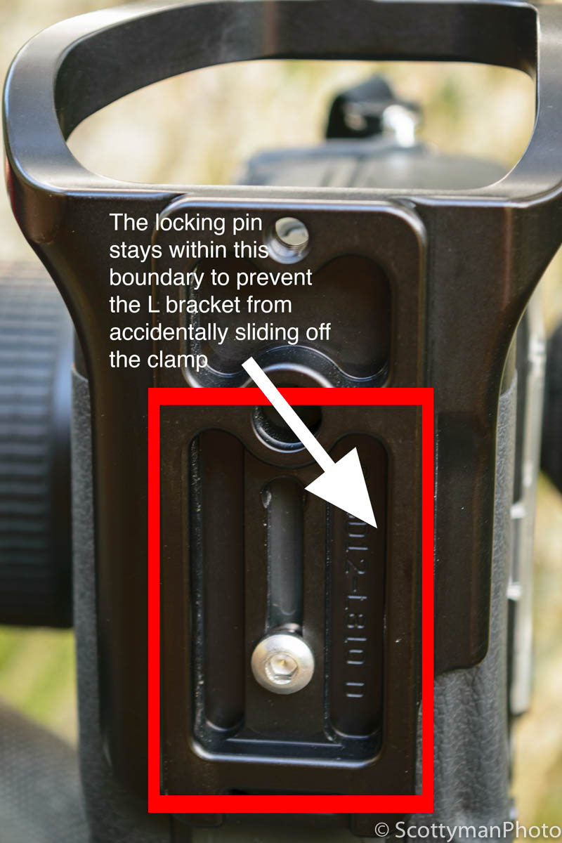 An image of an RRS L Bracket to illustrate the Manfrotto XPRO Ball Head safety pin locking boundary