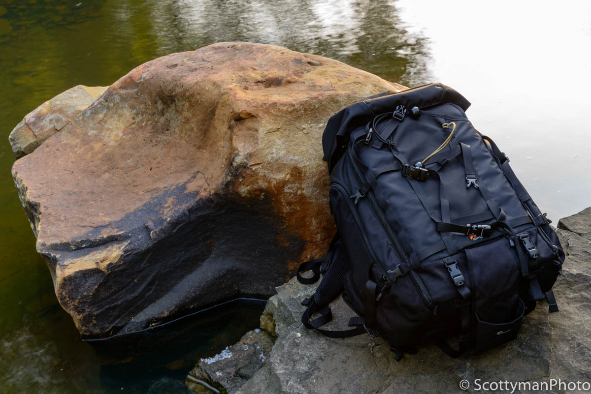 Lowepro Pro Trekker 450 AW Camera Backpack outdoors captured near a creek